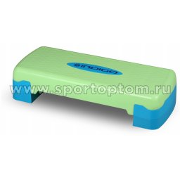 Степ-платформа для аэробики 2 уровня INDIGO IN171 68*28*10/15 см Сине-зеленый