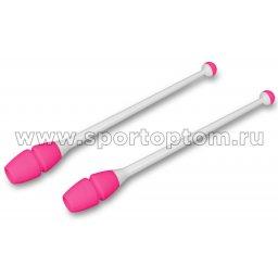 Булавы для художественной гимнастики вставляющиеся INDIGO IN017 36 см Бело-розовый