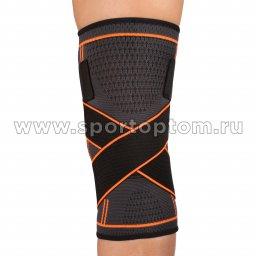 Суппорт колена эластичный INDIGO с компрессионными лямками  IN209 Черно-оранжевый