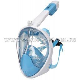 Маска для плавания с трубкой на все лицо INDIGO CRAB  взрослая  IN061 Сине-белый