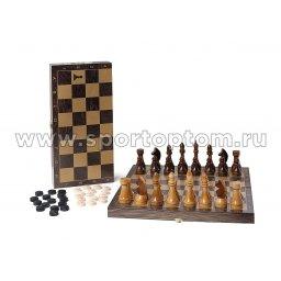 Игра 2 в 1 деревянная Классика (шахматы, шашки) 195-18 40*40 см Венге