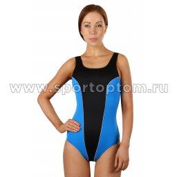 Купальник для плавания SHEPA  совместный женский со вставками 031 Черно-голубой