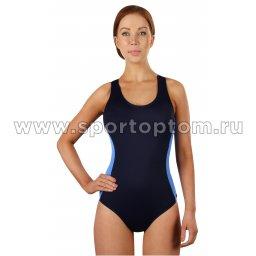 Купальник для плавания SHEPA слитный женский со вставками 006 Т.Сине-голубой