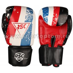 Перчатки боксёрские RSC HIT PU   SB-01-146 8 унций Бело-красно-синий