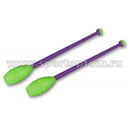Булавы для художественной гимнастики вставляющиеся INDIGO IN019 45 см Фиолетово-салатовый