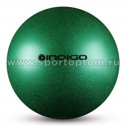 Мяч для художественной гимнастики INDIGO металлик 400 г IN118 19 см Зеленый с блетками