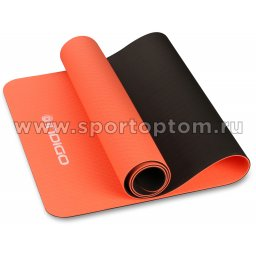 Коврик для йоги и фитнеса INDIGO TPE двусторонний IN106 173*61*0,5 см Кораллово-черный