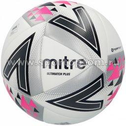 Мяч футбольный №5  MITRE ULTIMATCH PLUS HYPERSEAM матчевый (термопластичн.PU) BB1116WSP Бело-серо-розовый