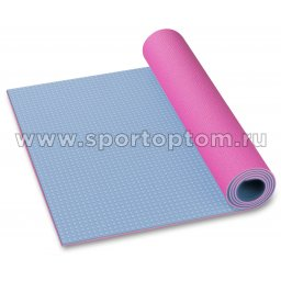 Коврик для йоги и фитнеса INDIGO PVC двусторонний IN258 173*61*0,6 см Голубо-розовый