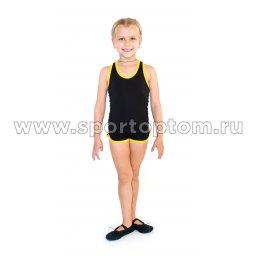 Шорты гимнастические детские INDIGO c окантовкой SM-218 Черный-желтый (2)