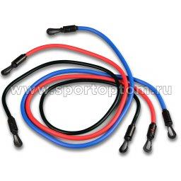Эспандер для степа набор HAWK 3 жгута 12101 HKAS 120 см Красный, Синий, Черный