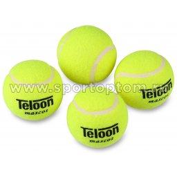 Мяч для большого тенниса TELOON (4 шт в тубе) тренировочный Стандарт 801Т Р4 Желтый
