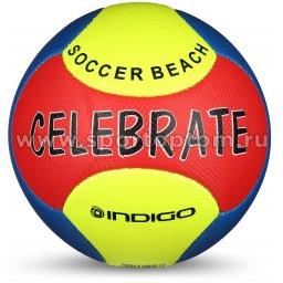 Мяч футбольный №5 INDIGO BEACH CELEBRATE пляжный (PVC 1.2 мм) 1197 Желто-Красный