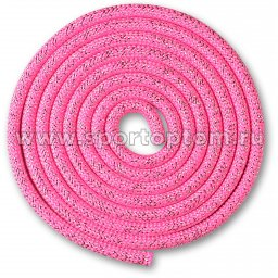 Скакалка для художественной гимнастики Утяжеленная 150 г INDIGO Люрекс SM-122 2.5 м Розовый-люрекс