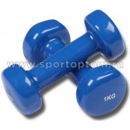 Гантели обливные с виниловым покрытием INDIGO 92005 IR 1,0кг*2шт Синий