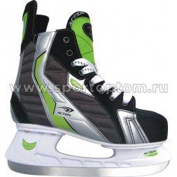Коньки хоккейные Action LUCKY (ПУ, нейлон; Лезвие: нерж сталь) PW-216AE                  Черно-зеленый