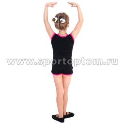 Майка гимнастическая INDIGO с окантовкой SM-334 Черный-фуксия (2)