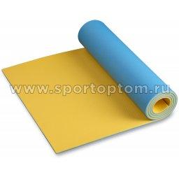 Коврик туристический двухслойный 3010 ППЭ-Р 1800*600*10 мм Голубо-Жёлтый
