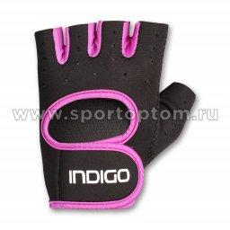 Перчатки для фитнеса женские INDIGO неопрен IN200 Черно-фиолетовый