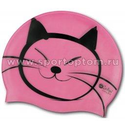 Шапочка для плавания силиконовая  INDIGO детская Котик SCCT505 Розовый