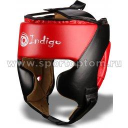 Шлем боксерский тренировочный INDIGO PU  250046 Черно-красный