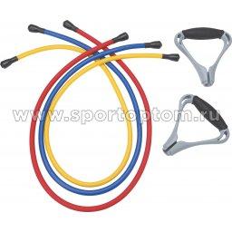 Эспандер в наборе 3 латексных жгута разной нагрузки для степа PRO SUPRA  316 TR-3 120 см Красный, Синий, Желтый