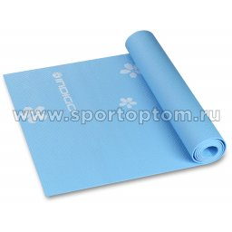 Коврик для йоги и фитнеса INDIGO PVC с рисунком Цветы  YG03P 173*61*0,3 см Голубой