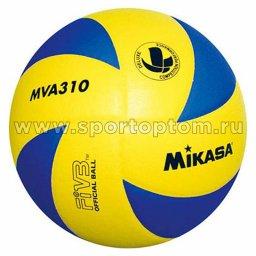 Мяч волейбольный MIKASA  тренировочный клееный (синтетическая кожа) MVA 310 Желто-Синий