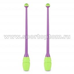 Булавы для художественной гимнастики вставляющиеся INDIGO IN017 36 см Фиолетово-салатовый