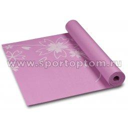 Коврик для йоги и фитнеса INDIGO PVC с рисунком Цветы  YG03P 173*61*0,3 см Сиреневый
