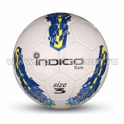Мяч футбольный №3 INDIGO RAIN тренировочный (PU SEMI) Юниор IN031 Бело-сине-желтый