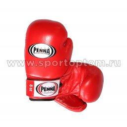 Перчатки боксёрские PENNA натуральная кожа   02-006 6 унций Красный