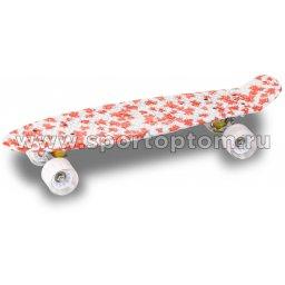 Круизер INDIGO SPLASH (шасси алюминиевое, ABEC 7, колеса PU) LS-P2206B 56,5*15 см Красно-белый