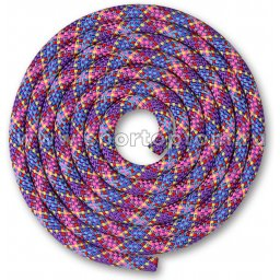Скакалка для художественной гимнастики Утяжеленная 150 г INDIGO SM-359 2,5 м Фиолетово-зелено-желто-красно-розово-голубо-синий