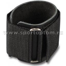 Напульсник кожаный, усиленный, фиксатор велькро (1шт) GA006 8*6,5 см Черный