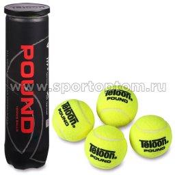 Мяч для большого тенниса TELOON (4 шт в тубе) тренировочный Pount-TOUR 828Т Р4 Желтый