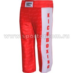Брюки для кикбоксинга Green Hill KICK KIDS полиэстер, атлас KBT-3628 Красный