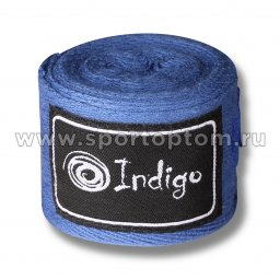Бинт боксёрский INDIGO  х/б, нейлон  1115 4,0 м Синий