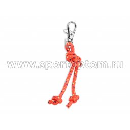Сувенир брелок скакалка для художественной гимнастики INDIGO SM-392 10 см Коралловый-сине-желтый люрикс
