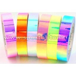 Обмотка для обруча с подкладкой INDIGO MIRROR RAINBOW IN151 20мм*14м Флуоресцентный розовый