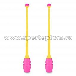 Булавы для художественной гимнастики вставляющиеся INDIGO IN017 36 см Желто-розовый