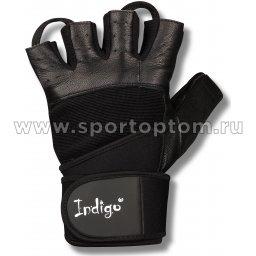 Перчатки для фитнеса  INDIGO с широким напульсником н/к  SB-16-1089 Черный