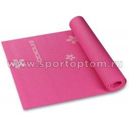 Коврик для йоги и фитнеса INDIGO PVC с рисунком Цветы YG03P Цикламеновый (1)