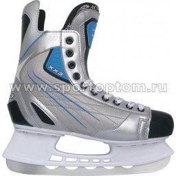 Коньки хоккейные Action SILVER (ПВХ, с/кож, нейлон; подкл: вельвет) PW-208T                   Серый