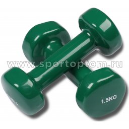Гантели обливные с виниловым покрытием INDIGO 92005 IR 1,5кг*2шт Зеленый