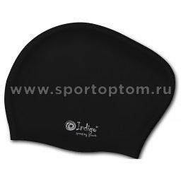 Шапочка для плавания силиконовая  длинные волосы INDIGO 802 SC Черный