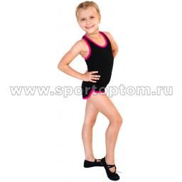 Шорты гимнастические  детские INDIGO c окантовкой SM-333 Черный-Фуксия (1)