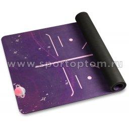 Коврик для йоги и фитнеса INDIGO Галактика (микрофибра, каучук) IN232 183*68*0,35 см Фиолетовый