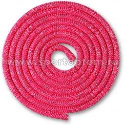 Скакалка для художественной гимнастики Утяжеленная 150 г INDIGO Люрекс SM-122 2.5 м Фуксия-люрекс