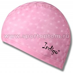 Шапочка для плавания  ткань прорезиненная с эффектом 3D INDIGO  IN047 Розовый
